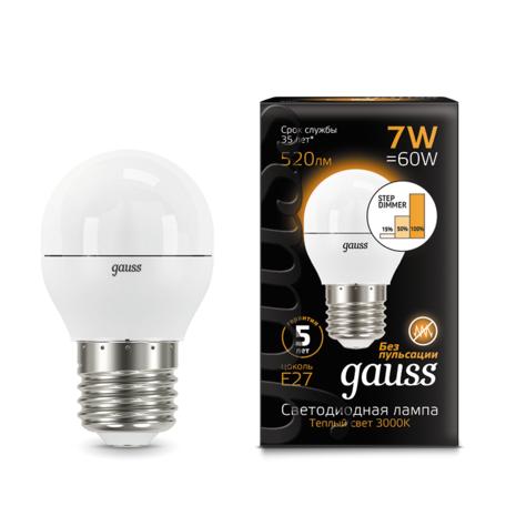 Светодиодная лампа Gauss 105102107-S шар E27 7W, 3000K (теплый) CRI>90 150-265V, диммируемая, гарантия 5 лет