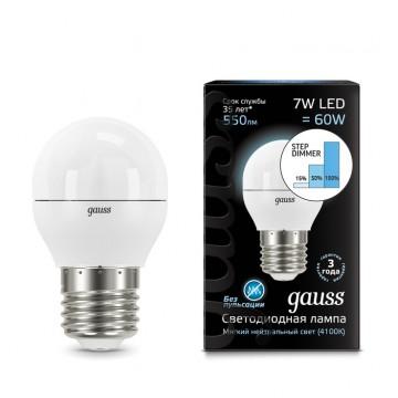 Светодиодная лампа Gauss 105102207-S шар E27 7W, 4100K (холодный) CRI>90 150-265V, диммируемая, гарантия 5 лет