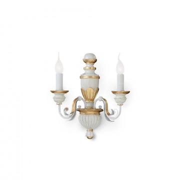 Бра Ideal Lux FIRENZE AP2 012902, 2xE14x40W, белый с золотом, пластик