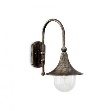 Настенный фонарь Ideal Lux CIMA AP1 024134, IP43, 1xE27x60W, коричневый, металл, ковка, металл с пластиком