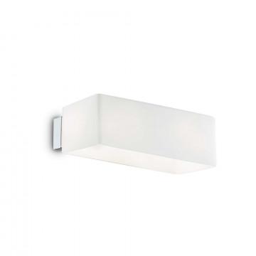 Настенный светильник Ideal Lux BOX AP2 BIANCO 009537, 2xG9x40W, хром, белый, металл, стекло