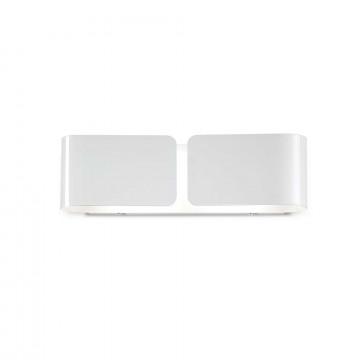 Настенный светильник Ideal Lux CLIP AP2 SMALL BIANCO 014166, 2xE27x60W, белый, металл, стекло