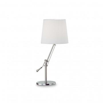 Настольная лампа Ideal Lux REGOL TL1 BIANCO 014616, 1xE27x60W, никель, белый, металл, текстиль