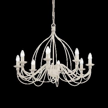 Подвесная люстра Ideal Lux CORTE SP8 BIANCO ANTICO 005898, 8xE14x40W, белый с золотой патиной, металл