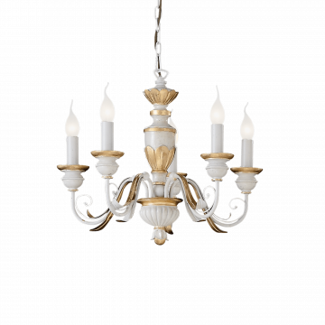 Подвесная люстра Ideal Lux FIRENZE SP5 012865, 5xE14x40W, белый, матовое золото, пластик