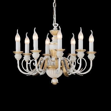 Подвесная люстра Ideal Lux FIRENZE SP8 012872, 8xE14x40W, белый, матовое золото, пластик