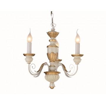 Подвесная люстра Ideal Lux FIRENZE SP3 012858, 3xE14x40W, белый, матовое золото, пластик
