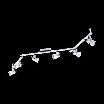 Потолочный светильник с регулировкой направления света Eglo Trillo 97375, 6xGU10x5W, белый, черно-белый, металл
