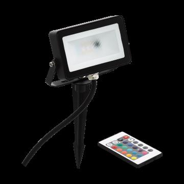Светодиодный прожектор с колышком с пультом ДУ Eglo Faedo 4 98185, IP44, LED 10W 3000K + RGB 700lm, черный, металл, металл со стеклом/пластиком