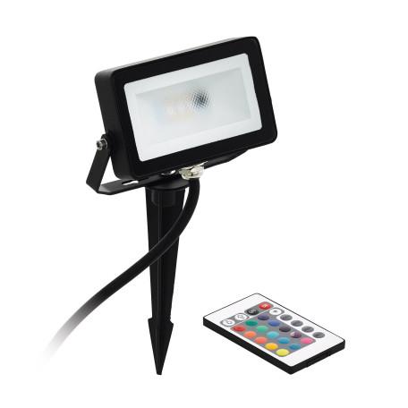 Светодиодный прожектор с колышком с пультом ДУ Eglo Faedo 4 98185, IP44, LED 10W 3000K + RGB 700lm, черный, металл, металл с пластиком