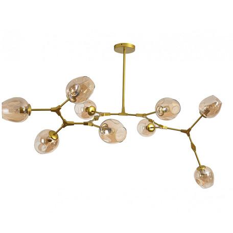 Люстра на составной штанге Kink Light Нисса 07512-9,33, 9xE27x40W, золото, янтарь, металл, стекло