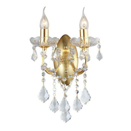 Бра Favourite Dazzle 2092-2W, 2xE14x40W, золото, прозрачный, металл со стеклом, хрусталь