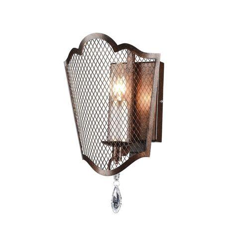 Бра Favourite Venezia 2149-1W, 1xE14x40W, коричневый, прозрачный, металл, ковка, хрусталь