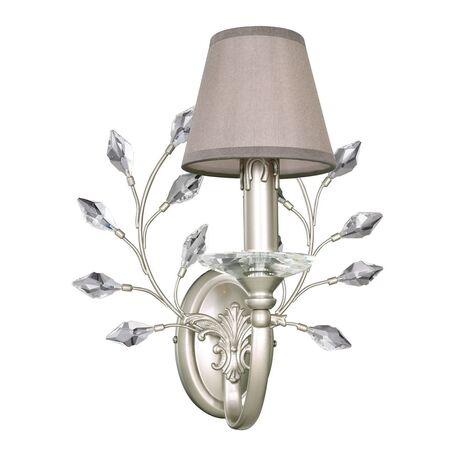 Бра Favourite Laurel 2173-1W, 1xE14x40W, перламутровый, прозрачный, серый, металл, хрусталь, текстиль