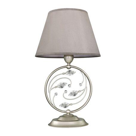 Настольная лампа Favourite Laurel 2173-1T, 1xE14x40W, перламутровый, прозрачный, серый, металл, хрусталь, текстиль