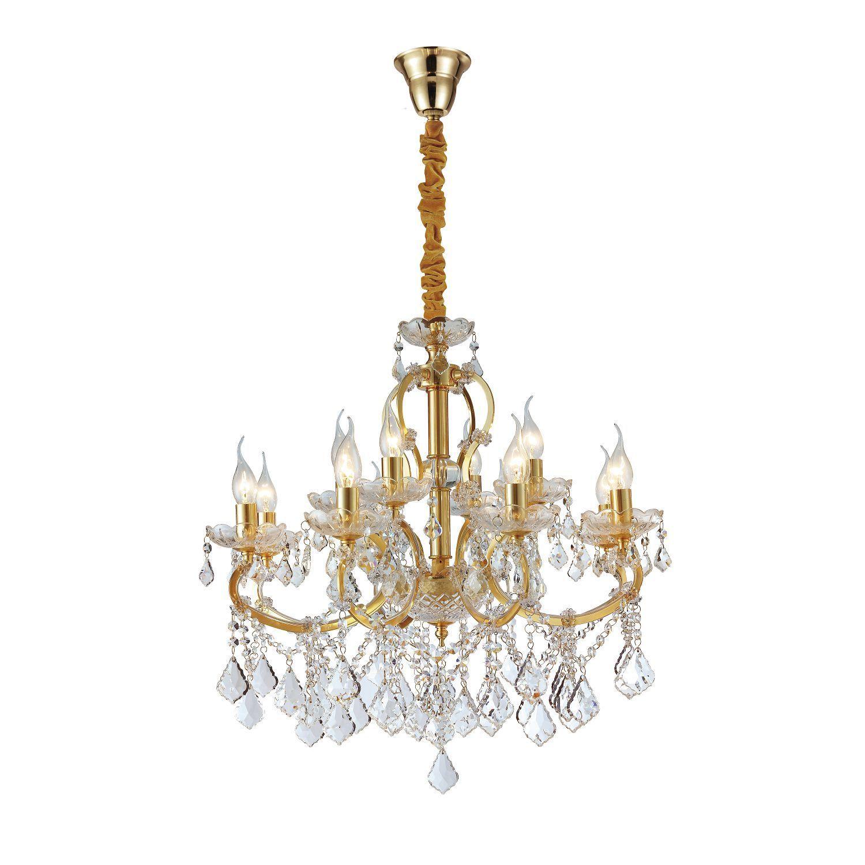 Подвесная люстра Favourite Dazzle 2092-12P, 12xE14x40W, золото, прозрачный, металл со стеклом, хрусталь - фото 1