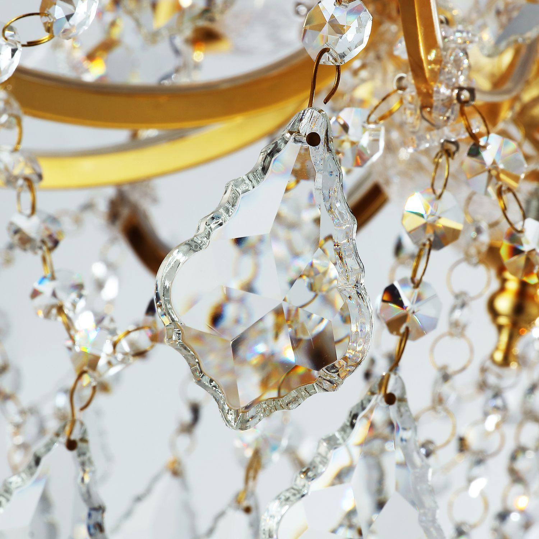 Подвесная люстра Favourite Dazzle 2092-12P, 12xE14x40W, золото, прозрачный, металл со стеклом, хрусталь - фото 2