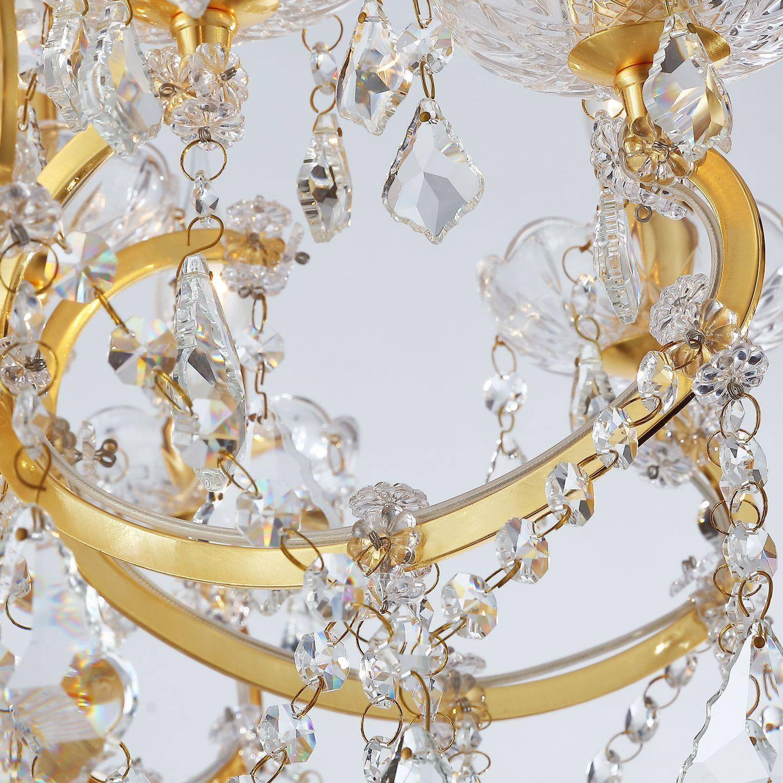 Подвесная люстра Favourite Dazzle 2092-12P, 12xE14x40W, золото, прозрачный, металл со стеклом, хрусталь - фото 3