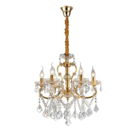 Подвесная люстра Favourite Dazzle 2092-6P, 6xE14x40W, золото, прозрачный, металл со стеклом, хрусталь