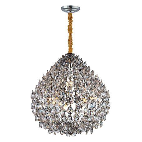 Подвесная люстра Favourite Faberge 2093-10P, 10xE14x40W, хром, прозрачный, металл, хрусталь