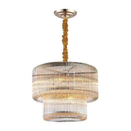 Подвесная люстра Favourite Negociant 2094-9P, 9xE14x40W, золото, прозрачный, металл, стекло
