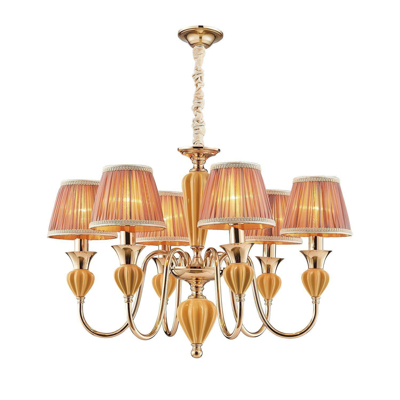 Подвесная люстра Favourite Miraculum 2138-6P, 6xE14x40W, золото, янтарь, бежевый, металл, керамика, текстиль - фото 1