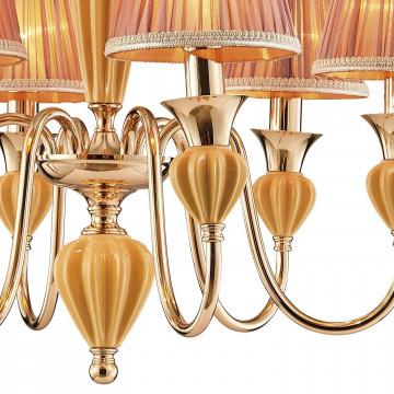 Подвесная люстра Favourite Miraculum 2138-6P, 6xE14x40W, золото, янтарь, бежевый, металл, керамика, текстиль - миниатюра 3