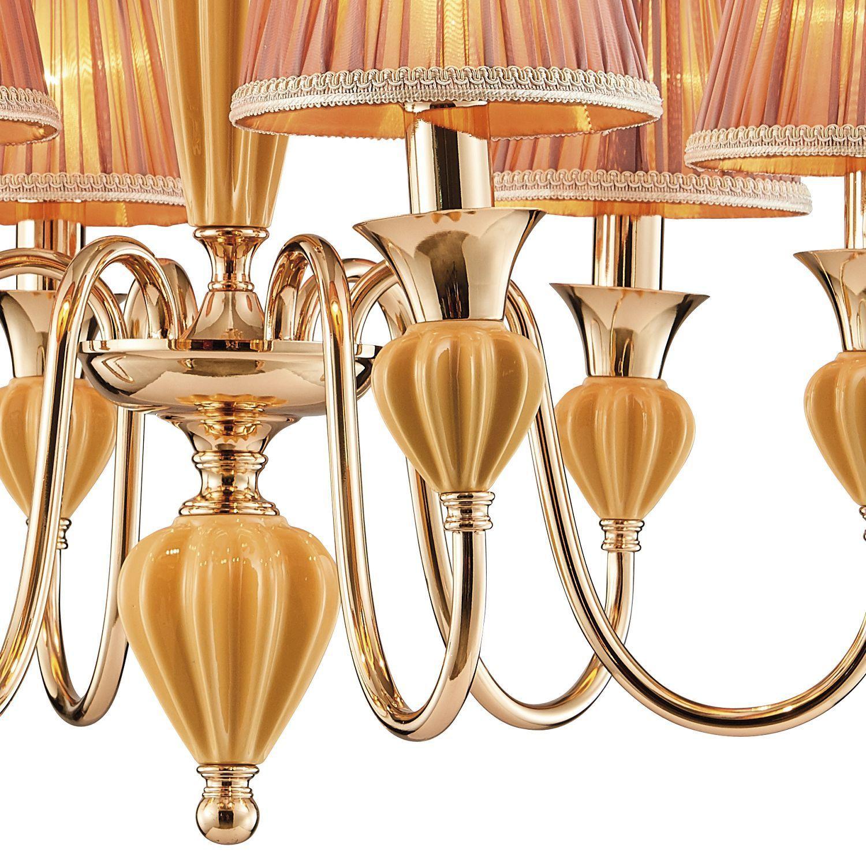 Подвесная люстра Favourite Miraculum 2138-6P, 6xE14x40W, золото, янтарь, бежевый, металл, керамика, текстиль - фото 3