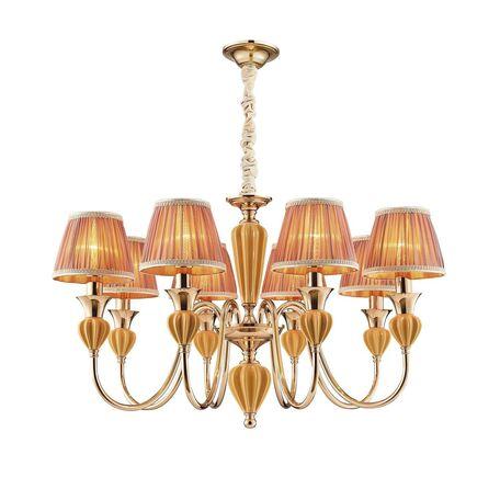 Подвесная люстра Favourite Miraculum 2138-8P, 8xE14x40W, золото, янтарь, бежевый, металл, керамика, текстиль