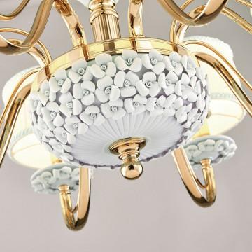 Подвесная люстра Favourite Matilda 2140-8P, 8xE14x40W, золото, белый, керамика, металл, текстиль - миниатюра 3