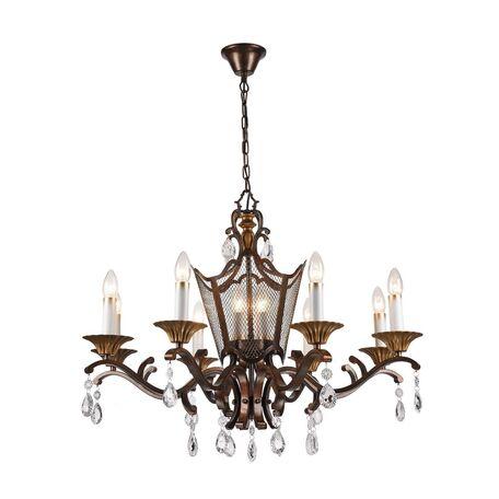 Подвесная люстра Favourite Venezia 2148-12P, 12xE14x40W, коричневый, матовое золото, прозрачный, металл, хрусталь