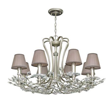 Подвесная люстра Favourite Laurel 2173-8P, 8xE14x40W, перламутровый, прозрачный, серый, металл, хрусталь, текстиль