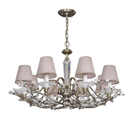 Подвесная люстра Favourite Crown 2175-8P, 8xE14x40W, бронза, прозрачный, бежевый, металл, стекло, хрусталь, текстиль