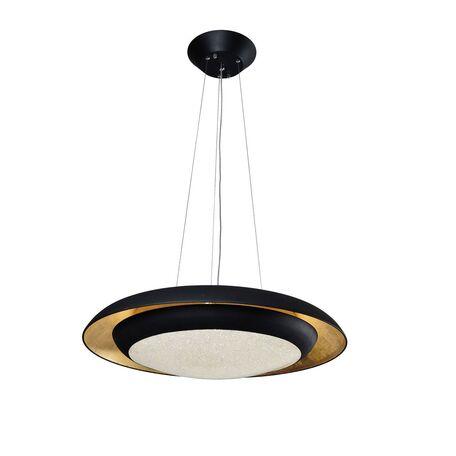 Подвесной светодиодный светильник с пультом ДУ Favourite Spiegel 2114-2P, LED 46W 3000K, черный, белый, матовое золото, металл, металл с пластиком, пластик