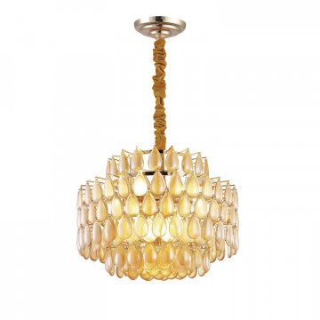 Потолочно-подвесная люстра Favourite Congress 2095-9P, 9xE14x40W, золото, коньячный, металл, стекло