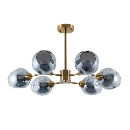 Потолочная люстра Arte Lamp Yuka A7759PL-6PB, 6xE27x60W, медь, дымчатый, металл, стекло