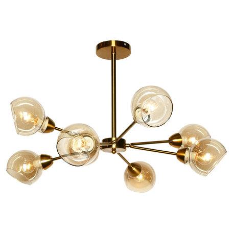 Потолочная люстра Lussole LGO Montana LSP-8208, IP21, 8xE27x40W, бронза, янтарь, металл, стекло