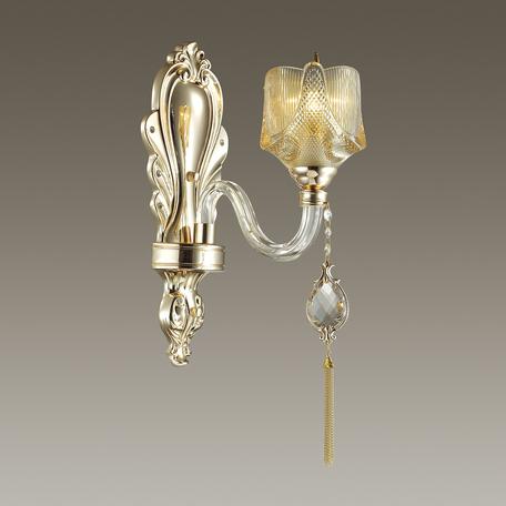 Бра Odeon Light Corsa 4002/1W, 1xE14x40W, золото, прозрачный, янтарь, металл, стекло, хрусталь
