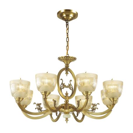 Подвесная люстра Odeon Light Classic Piemont 3998/8, 8xE14x40W, бронза, янтарь, металл, камень, стекло