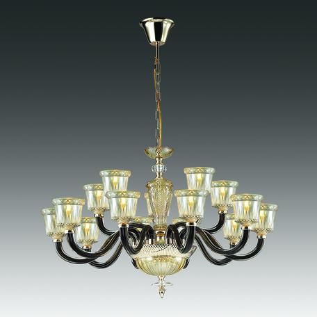 Подвесная люстра Odeon Light Giovanni 4000/15, 15xE14x40W, золото, черный, янтарь, металл, стекло