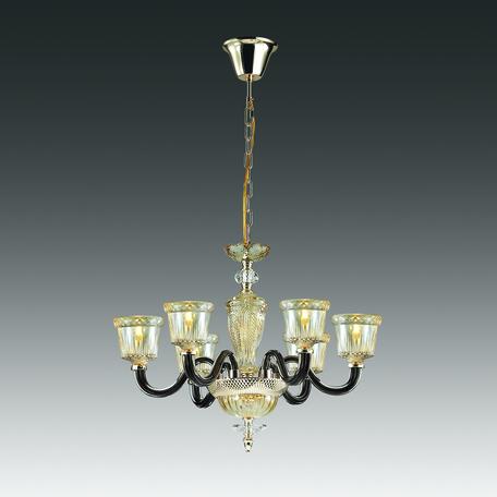 Подвесная люстра Odeon Light Giovanni 4000/6, 6xE14x40W, золото, черный, янтарь, металл, стекло
