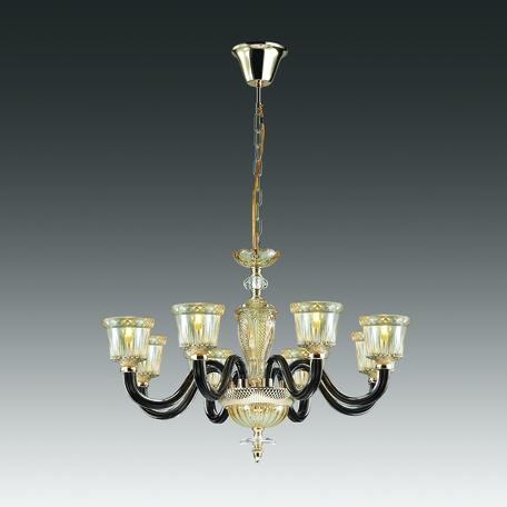 Подвесная люстра Odeon Light Classic Giovanni 4000/8, 8xE14x40W, золото, янтарь, черный, стекло - миниатюра 1