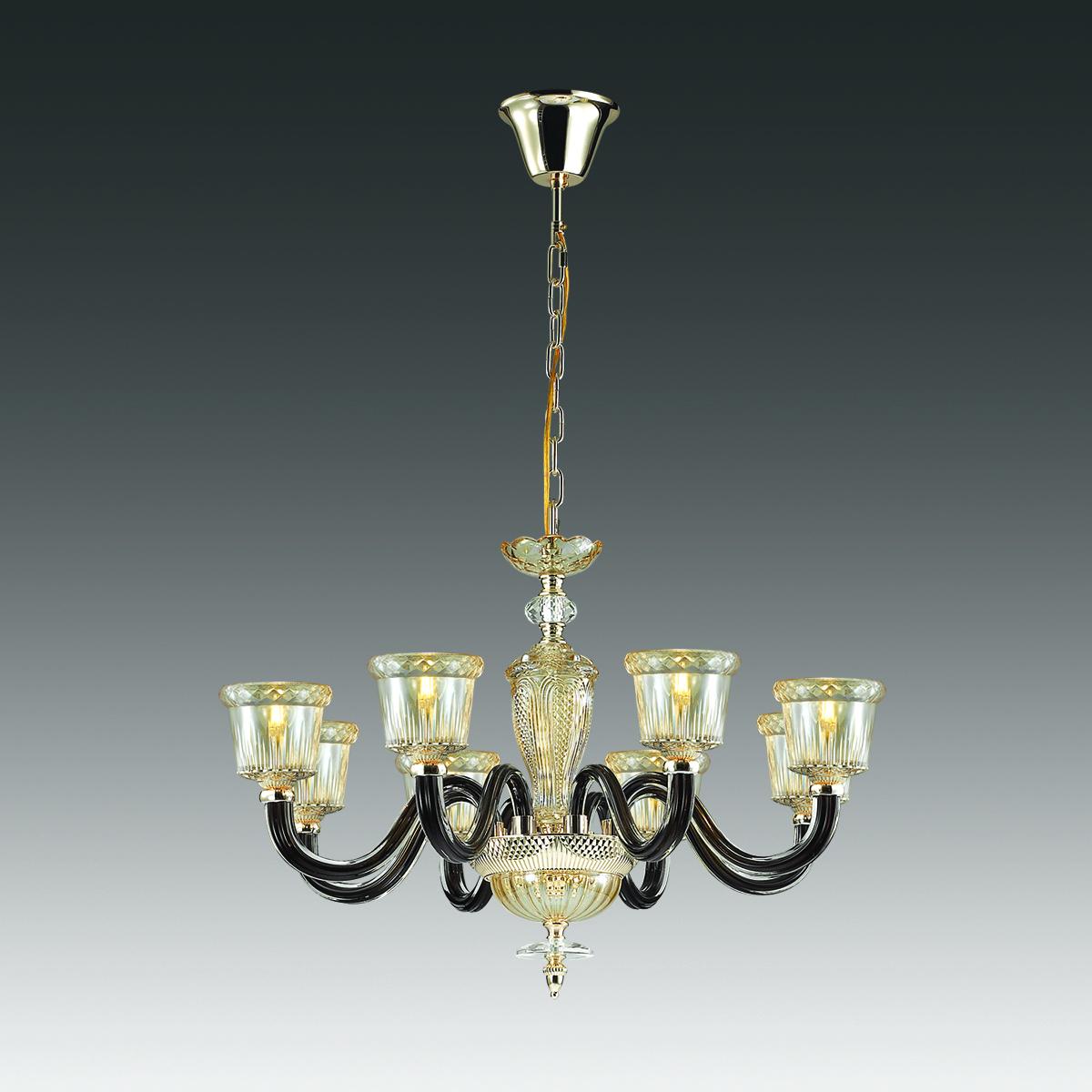 Подвесная люстра Odeon Light Classic Giovanni 4000/8, 8xE14x40W, золото, янтарь, черный, стекло - фото 1