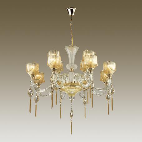 Подвесная люстра Odeon Light Classic Corsa 4002/12, 12xE14x40W, золото, прозрачный, янтарь, стекло, металл с хрусталем - миниатюра 1