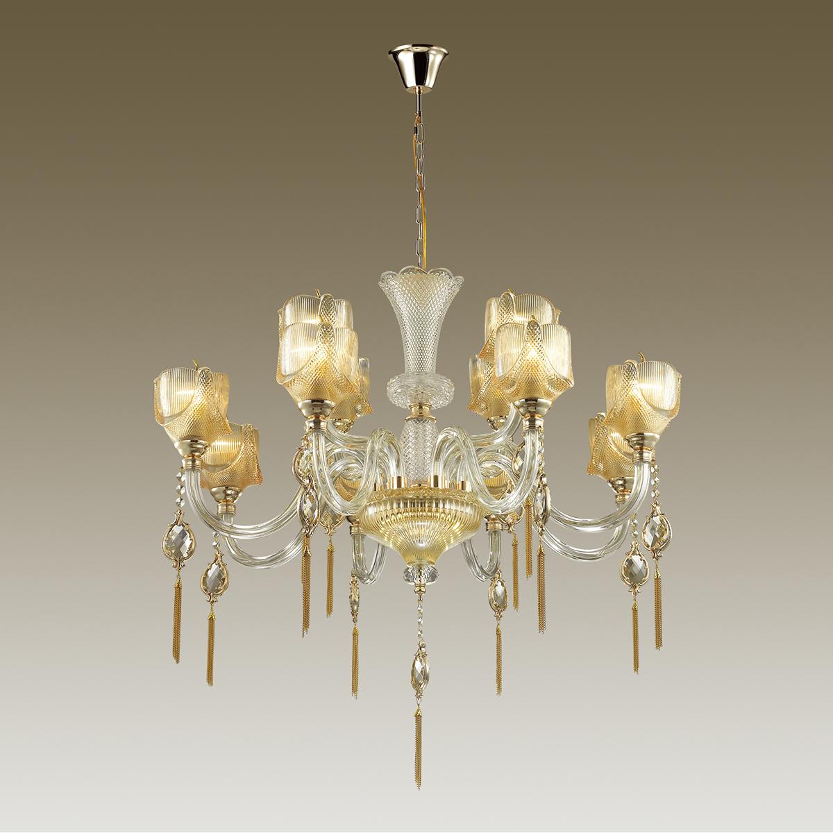 Подвесная люстра Odeon Light Classic Corsa 4002/12, 12xE14x40W, золото, прозрачный, янтарь, стекло, металл с хрусталем - фото 1