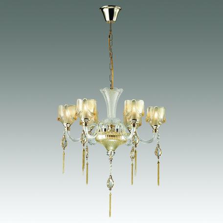 Подвесная люстра Odeon Light Corsa 4002/6, 6xE14x40W, золото, прозрачный, янтарь, металл, стекло, хрусталь