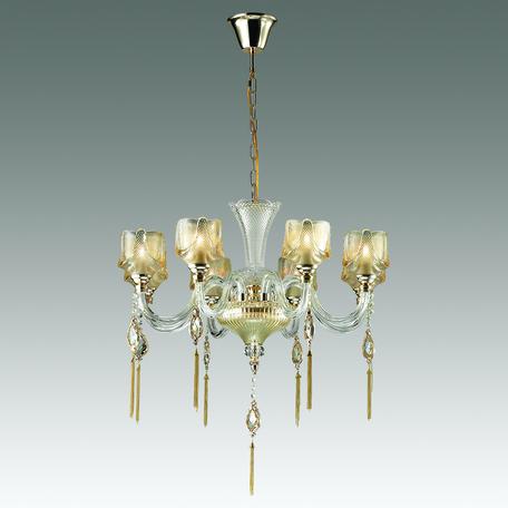 Подвесная люстра Odeon Light Corsa 4002/8, 8xE14x40W, золото, прозрачный, янтарь, металл, стекло, хрусталь
