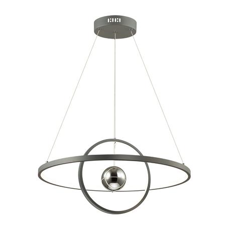 Подвесной светодиодный светильник Odeon Light L-Vision Lond 4031/40L, LED 40W 3000K 3600lm, темно-серый, хром, металл, пластик, стекло
