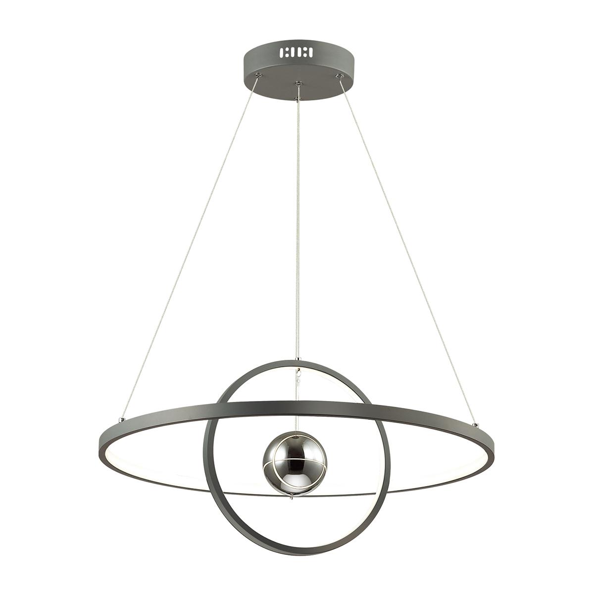 Подвесной светодиодный светильник Odeon Light L-Vision Lond 4031/40L, LED 40W 3000K 3600lm, темно-серый, хром, металл, пластик, стекло - фото 1