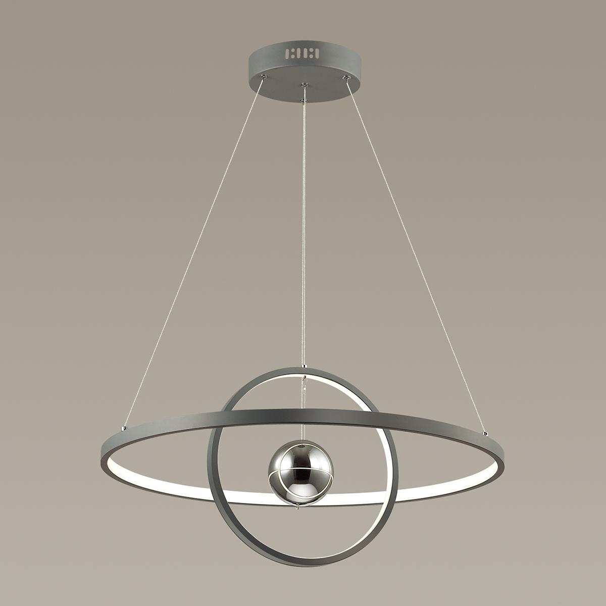 Подвесной светодиодный светильник Odeon Light L-Vision Lond 4031/40L, LED 40W 3000K 3600lm, темно-серый, хром, металл, пластик, стекло - фото 2